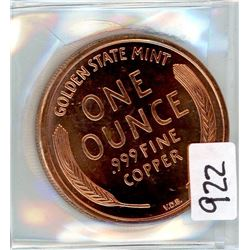 ONE OUNCE COPPER COIN (LINCOLN PENNY)