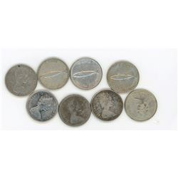 LOT OF 8 TEN CENT COINS (CANADA) *1967* (SILVER)