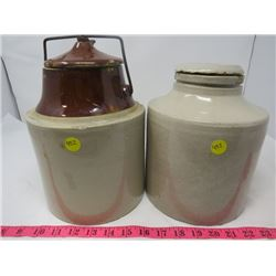 LOT OF TWO 1 GALLON CROCKS WITH LIDS *SOME CHIPS*