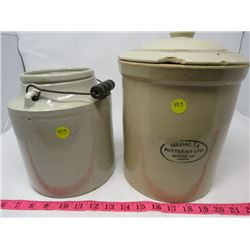 LOT OF 2 CROCKS - ONE 1 GALLON, ONE 2 GALLON *SOME CHIPS*