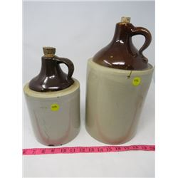 LOT OF TWO CROCKS W/ CORKSCREWS - 1 GALLON, 2 GALLON