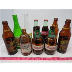 LOT OF 10 GLASS BOTTLES (2 SEALED)