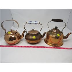 LOT OF THREE BRASS TEA POTS