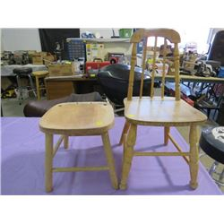 TWO WOODEN KIDS CHAIRS (ONE MISSING THE BACK)