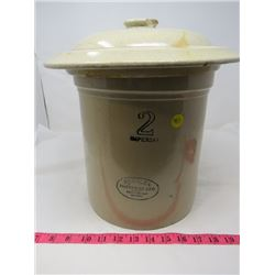 2 GALLON CROCK W/ LID (MEDALTA) *SOME CHIPS*