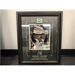 FRIDAY NIGHT NO RESERVE FRAMED AND AUTOGRAPHED PICTURE OF SIDNEY CROSBY STANLEY CUP CHAMPIONS COA IN