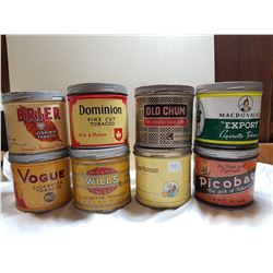 LOT OF 8 TOBACCO TINS (IN GREAT CONDITION)