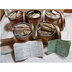 LOT OF 5 TOBACCO TINS (FULL OF RECIEPTS, CPR AND OTHERS)