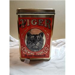 TIGER TOBACCO TIN (LARGE SIZE) *GREAT SHAPE*