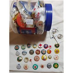 JAR FULL OF BUTTON PINS (SOME VERY RARE)