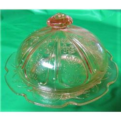 REPRO DEPRESSION GLASS BUTTER DISH (VERY DELICATE WITH NICE COLOR)