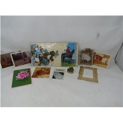 VINTAGE RCMP PUZZLE, VINTAGE PICTURES AND TEA FIGURINE OF THE 3 BEARS