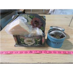 SOAP HOLDER AND TIN OF PASTRY CUTTERS