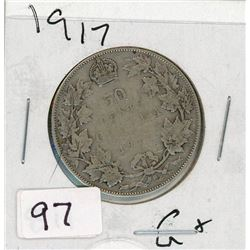 FIFTY CENT COIN (CANADA) *1917* (SILVER)