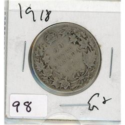 FIFTY CENT COIN (CANADA) *1918* (SILVER)