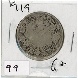 FIFTY CENT COIN (CANADA) *1919* (SILVER)