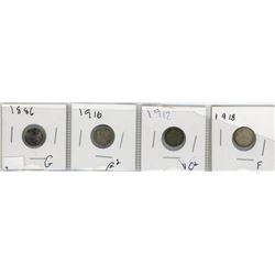LOT OF FOUR 5 CENT COINS (CANADA) *1886, 1910, 12, 18* (SILVER)