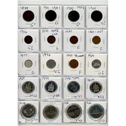 PAGE LOT OF 20 CANADIAN COINS (4 X $1.00, 4 X .50, 4 X .05, 4 X SMALL .01, 4 X LARGE .01) *ASSORTED