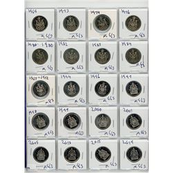 PAGE LOT OF 20 FIFTY CENT COINS (CANADA) *VARIOUS DATES BETWEEN 1969 TO 2019*