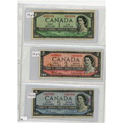 LOT OF 3 CANADIAN BANKNOTES ($1- $2-$5) *1954*