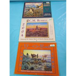 LOT OF 3 CM RUSSELL CALENDARS (NICE PICTURES)