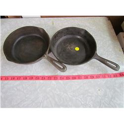 2 SMALL CAST IRON PANS