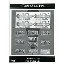 Lot of 4 uncut 1986 $2 notes in folder marked End of an Era: Canada's Last Two Dollar Bill.