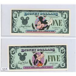 Lot of 3 Disney Dollars: $1 Mickey Mouse and $5 Pluto