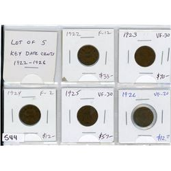 Lot of 5 Key Date small cents: 1922 F-12, 1923 VF-30, 1924 F-12, 1925 VF-30, 1926 VF-20.