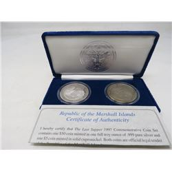 Marshall Islands Last Supper $5 coin and $50 Proof .999 silver set.
