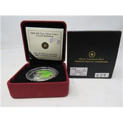 2008 Proof $20 Crystal Raindrop with green Maple Leaf and one Swarovski crystal. .9999 silver