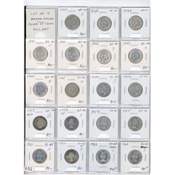 Lot of 19 nicer grade silver 25 cents: 1937 VF-30, 1938 VF-30, 1939 VF-30, 1940 EF-40, 1941 EF-40, 1