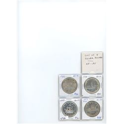 Lot of 4 Canadian silver dollars: 1937 EF-40, 1939 EF-40, 1949 AU-50, 1952 FWL AU-50.