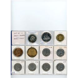 Lot of 11 John F. Kennedy medals and coins: Liberia 2000 $10, Marshall Islands 1995 $5, US 1963 bras