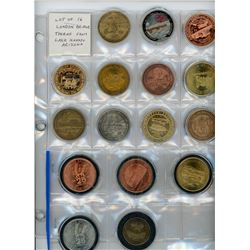 Lot of 16 large and colourful London Bridge tokens from Lake Havasu, Arizona.