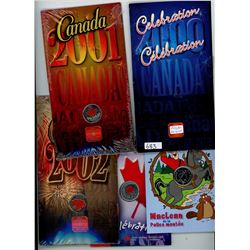 Lot of 5 Colourized Canadian 25 cents including 2000 Celebration, 2001 Canada Day, 2002 Canada Day,