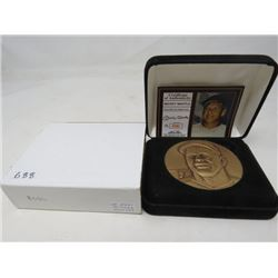 Mickey Mantle huge 2.5 inch brass medal with certificate of authenticity in case.