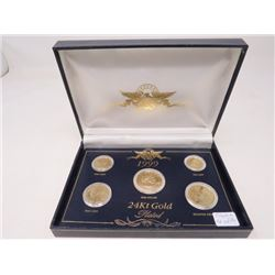 Set of 5 U.S. coins from 1 cent to dollar, all 24 karat gold plated in case of issue.
