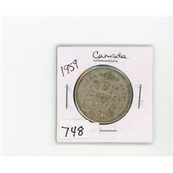 FIFTY CENT COIN (CANADA) *1959* (SILVER)
