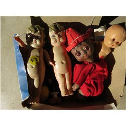 LOT OF 1 CUPE DOLL, 3 DOLLS AND TRINKETS