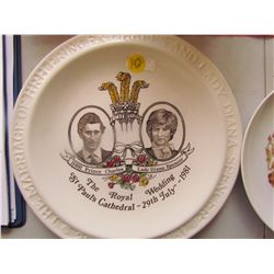 CHARLES & DIANA GLASSWARE (3 PLATES, 1 POT, 1 SMALL CONTAINER)