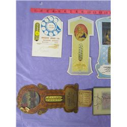 LOT OF 6 ADVERTISING CARDBOARD THERMOMETERS