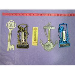 LOT OF 5 ADVERTISING PLASTIC THERMOMETERS