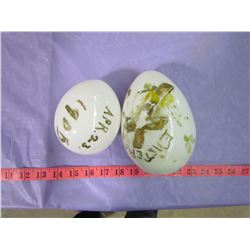 LOT OF 2 MILK GLASS EGGS