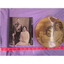 LOT OF 3 ROYALTY PIECES (2 TINS, 1 METAL PICTURE)