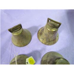 LOT OF 4 BRASS BELLS