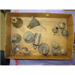 LOT OF 8 BRASS BELLS AND 6 BRASS KNOBS