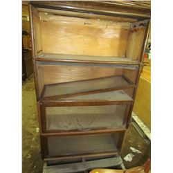 """WOOD AND GLASS FILING CABINET (34""""W)"""
