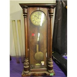 WALL CLOCK - AS IS (COMES WITH PENDULUM & WEIGHT, NO KEY)