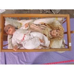 TOY CRADLE AND 2 DOLLS
